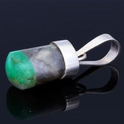 Natürliches, poliertes Smaragdgestein aus Boyaca Kolumbien in 950 Silber gefasst