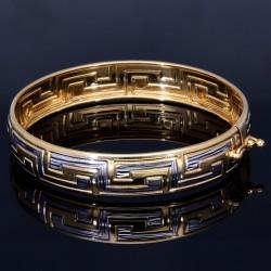 Armreif in 14K 585 Bicolor Gold in modernem Design - Breite: 10,2 mm, Innendurchmesser 50,6 mm