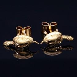 Aufwendig handgearbeitete Schildkröten Ohrstecker mit beweglichem Kopf + Gliedmaßen in 750 18K Gelbgold