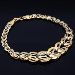 Glänzendes Bicolor Designer Armband aus 585 14K Gold in (ca. 19,5 cm Länge)