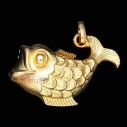 Glänzender Fisch - Anhänger aus hochwertigem 585er 14K Gelbgold