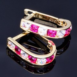 Wunderschöne Ohrringe bestückt mit bunten Zirkoniasteinen aus 585 / 14K Gold