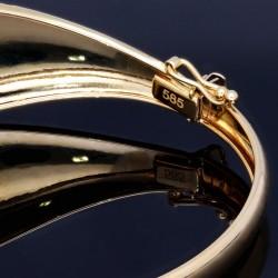 Eleganter Armreif in hochwertigem 14K 585 Gold  - Breite: 21,6 mm, Innendurchmesser 50,6 mm mit Kastenverschluss