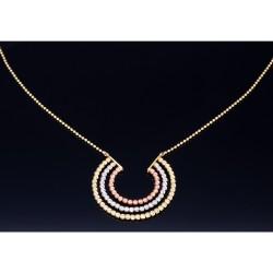 Glänzendes Damencollier / Halskette aus hochwertigem Tricolor 585er (14k) Gelb-, Weiß- und Roségold (Länge ca. 43,8 cm)