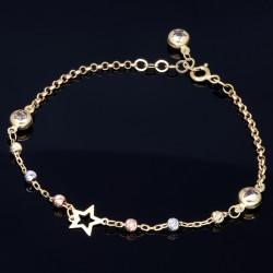 Funkelndes Stern- Armband aus 585 14K Tricolor Gold in (ca. 19,5 cm Länge)