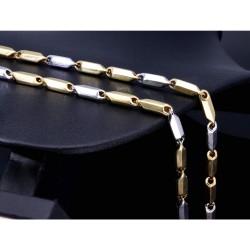 stylische Halskette aus hochwertigem Bicolor 14K / 585 Weiß- und Gelbgold (ca. 63cm Länge)