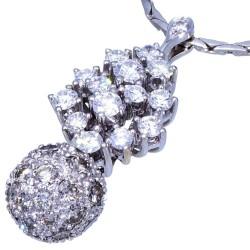 Umwerfend schöner Diamanten-Anhänger mit passender Halskette aus 14k / 585 - Weißgold für Damen