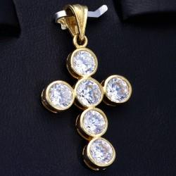 Sehr schöner Kreuzanhänger in hochwertigem Gelbgold 14k / 585 besetzt mit 6 größeren Zirkoniasteinen