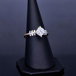 Eleganter Ring für Damen in 585 14 Karat Gelbgold eingefasst mit einem großen Zirkonia. RG 54