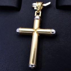 Glänzender Kreuzanhänger in schlichtem Design aus Gold aus 14k (585er) Gelbgold und Weißgold (bicolor)