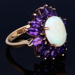 Wunderschöner Ring für Damen aus Gold (585 14K) im Design einer Blume in RG 54 - 55 mit 16 funkelnden Amethysten und einem großen Opal bestückt