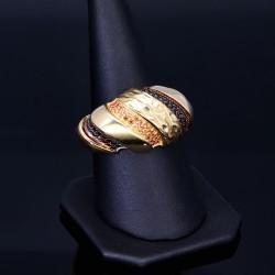 Glänzender Damenring aus 585 Gold (14K) in modernem Design in RG 57 mit wunderschönen, bunten Zirkoniasteinen besetzt