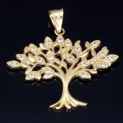 Lebensbaum - Anhänger in hochwertigem 585 14 Karat Gelbgold mit Zirkoniabesatz