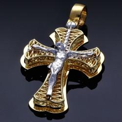 Feiner Jesus Christus Kreuz - Anhänger aus hochwertigem Gold aus 14k (585er) Bicolor Gelbgold und Weißgold