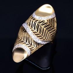 Hübsch verzierter Ring für Damen aus 585er 14 Karat Gelbgold mit Zirkoniabesatz Größe ca. 59