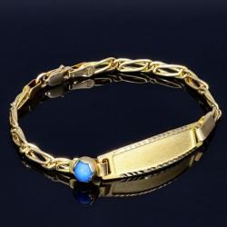 Baby - Armband mit Gravurplättchen aus hochwertigem 14k (585) Gold in ca. 13 cm Länge